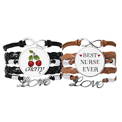 Best Nurse Ever - Pulsera de piel con cita respetada, diseño de cereza, color marrón