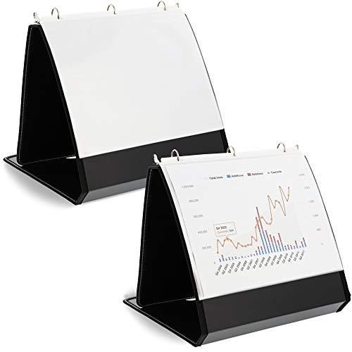 Juvale Carpeta de presentación con caballete para escritorio (2 unidades) 10.5 x 11.5 pulgadas, color negro
