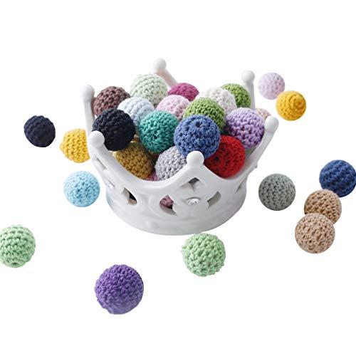 Bola de ganchillo Teether 30pcs 16mm Beads-Perlas de ganchillo-embellecimiento-madera Hilados de algodón del grano de la mezcla labra el color de los granos redondos-bebé Teether Juguetes