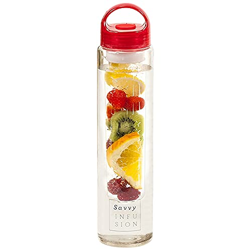 Savvy Infusion Water Bottles - Fruit Infuser Bottle with Unique Leak Proof Silicone Sealed Cap - Perfect for Runs, Walks, Hikes, and Outdoor Activities - Tritan Shatter Proof Plastic - 24 oz Red