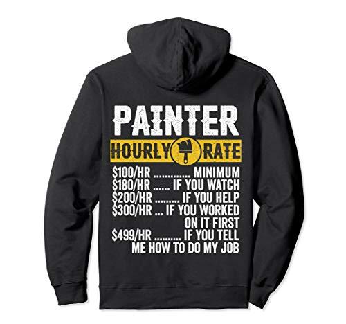 Lustige Vintage-Malerbekleidung, Art Hourly Rate Herren Pullover Hoodie