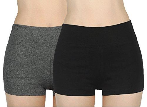 iloveSIA Shorts Damen Fitness Kurze Schwarz+grau Sporthose Frauen Shorty Frau Laufshorts, L