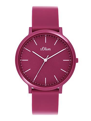 s.Oliver Unisex– Erwachsene Analog Quarz Uhr mit Silicone Armband SO-3957-PQ