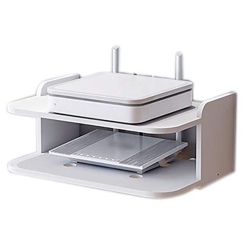 OMKMNOE Estante De Pared para Componentes De TV Flotante, Montado En La Caja Caja del Cable Enrutador Remotes Remotes DVD Player Consolas De Juegos Titular De Estantes,Blanco