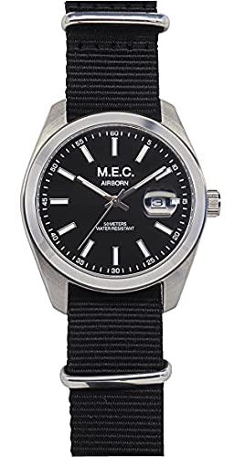 Reloj de hombre analógico de cuarzo con correa de la OTAN Militar Negro