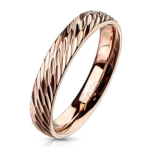 Bungsa® 52 (16.6) Rosegold Ring für Damen & Herren Edelstahl rotgold 49 52 54 57 60 62 (Fingerring Partnerringe Verlobungsringe Trauringe Damenring rotgold rosé)