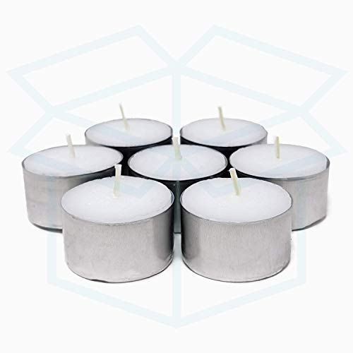 We Can Source It Ltd - 100 White Tea Light Candles Unscented Non-toxic - 8 Hours Burn Tealights - Perfect for Christmas, Valentines Day, Birthday Celebration