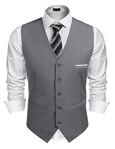 Burlady Herren Western Weste Herren Anzug Weste V-Ausschnitt Ärmellose Westen Slim Fit Anzug Business Hochzeit, Grau, XL