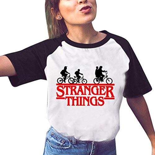 Stranger Things Shirt Damen, Teenager Mädchen Stranger Things Brief Drucken Sommer T-Shirts Frauen Mode Raglan Sleeve Kurzarm Tshirts Sport Casual Blusen Shirt Oberteile Tops Hemd Sale (3,S)