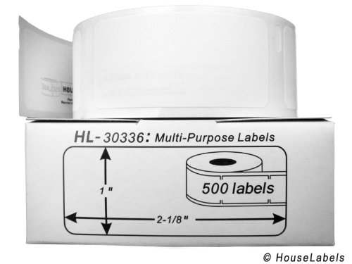 """24 Rolls; 500 Labels per Roll of Compatible with DYMO 30336 Multipurpose Labels (1"""" x 2-1/8"""") - BPA Free!"""