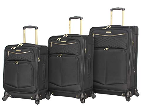 Steve Madden Designer Luggage Collection - 3 Piece Softside Expandable Lightweight Spinner Suitcase Set - Travel Set includes 20 Inch Carry on, 24 Inch & 28-Inch Checked Suitcases (Rockstar Black)