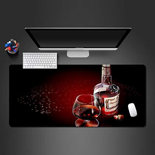 LZDAYK Alfombrilla de ratón para Juegos 900x400x3 mm Vino Tinto con pétalos de Rosa Base de Goma de Superficie Lisa, Tratamiento Resistente al Agua y al Desgaste, tapete de extensión, tapete de