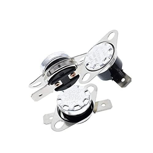 Yongenee 3Pcs KSD301 250V 10A Normalmente Cerrado NC termostato de Temperatura térmica Interruptor de Control de degC 40C-130C (Tamaño: 110 Grados) Herramientas