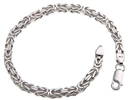 Massives 4,5mm breites Königskette Armband - 925 Sterling Silber, Länge 21cm
