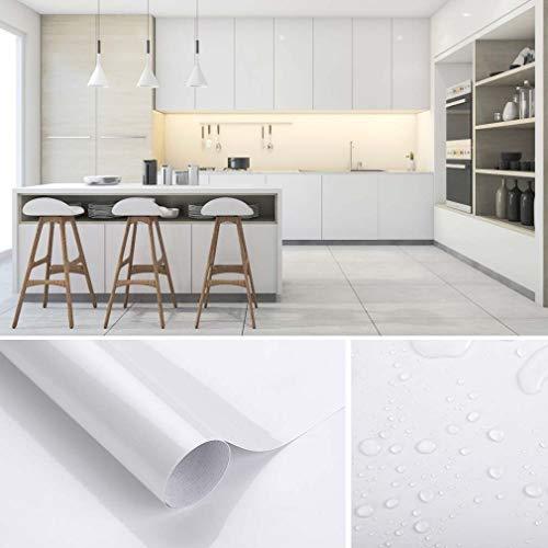 KINLO Aufkleber Küchenschränke weiß 80x500cm aus PVC Tapeten Küche Klebefolie Möbel wasserfest Aufkleber für Schrank selbstklebende Folie Küchenfolie Dekofolie MIT GLITZER