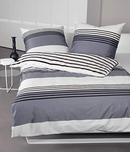 Parure de lit Janine - En satin maco - Argenté, noir, tissage serré - Drap-housse réversible, Satin mako, noir/argenté, 240 cm x 220 cm