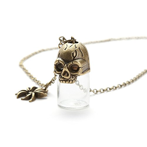 kakupao Skull Glass Bottle Necklace, Potion Bottle Pendant, Blood Bottle Gothic Necklace, Gift for Women (7)