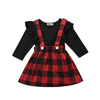 Toddler Baby Girl Infant Plain T Shirts Plaid Overall Skirt Set Cotton Outfits  Black+Red 2-3T