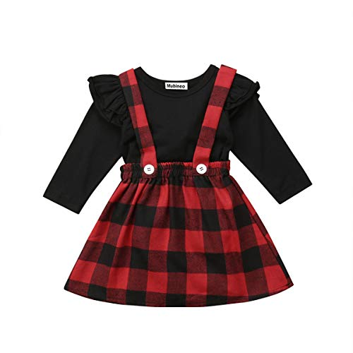 Toddler Baby Girl Infant Plain T Shirts Plaid Overall Skirt Set Cotton Outfits (Black+Red, 0-6 Months)