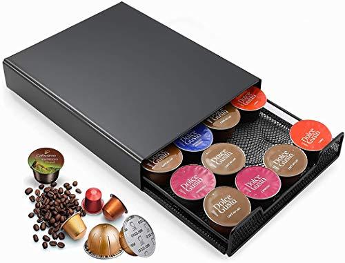 MaxMiuly Dolce Gusto Kapselhalter für Nespresso Vertuo Tchibo, Kapselständer zur Aufbewahrung von 20 Kapseln Cafissimo Lavazza, Metall Kaffeekapselspender mit rutschfeste Füße, schwarz