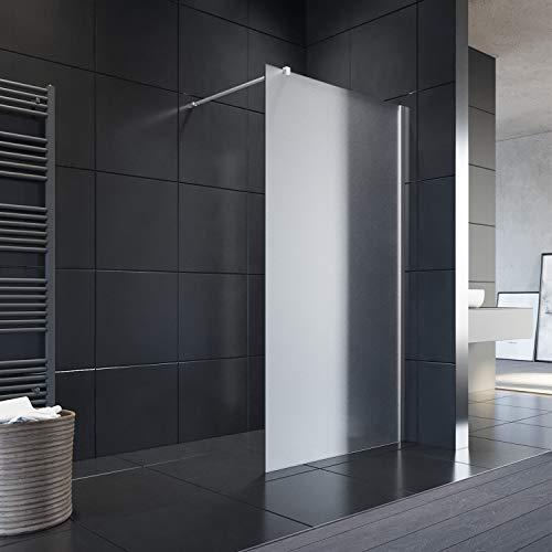 ELEGANT 90x200 cm Walk-In Dusche mit Stabilisator aus 8 mm Vollsatiniert Glas inkl. Nanobeschichtung