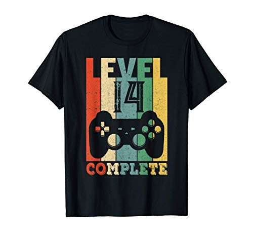 14. Geburtstag Junge Mädchen Gamer Level 14 Party Geschenk T-Shirt