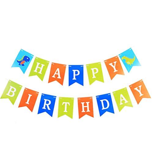 Amosfun Party-Banner aus Papier, Dinosaurier-Muster, Happy Birthday Wimpelkette Banner für Geburtstag Party