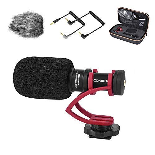 Kamera Mikrofon, Comica CVM-VM10II Video Mikrofon Richtmikrofon Externes Shotgun Mikrofon für Canon Nikon Sony Fuji Panasonic DSLR-Kamera Camcorder Smartphone - mit 3.5mm TRS/TRRS Cable & Wind Muff