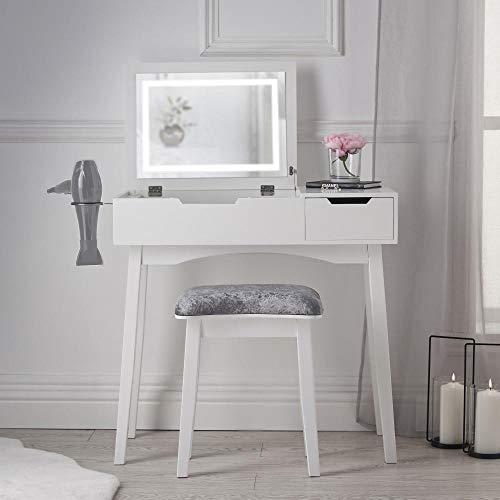 Selena - Tavolino da toeletta con luce a LED, con specchio, cassetto, sgabello, mobiletto per camera da letto, trucco e gioielli, colore: bianco