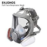 ENJOHOS Maschera facciale integrale Maschera respiratoria integrale Maschera di protezione respiratoria - 2 filtri integrati Certificato CE in silicone per verniciatura, polvere, saldatura, segatura
