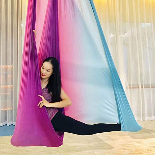 Aerial Yoga Swing Hängematten-Set Anti-Schwerkraft-Set Fitness Yoga Hängematte,White,5x2.8m