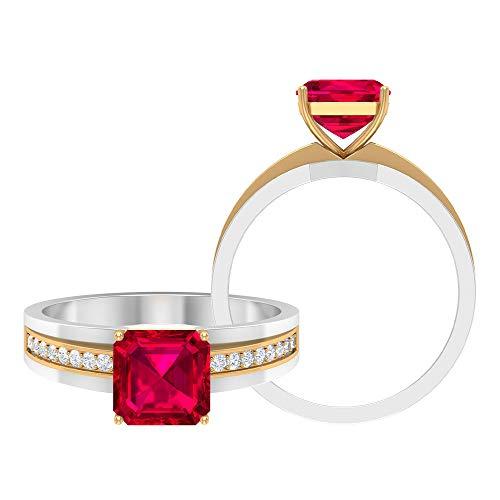 Anillo de compromiso de rubí creado en 4 ct con acento moissanita y oro en dos tonos (calidad de reliquia), 14K Oro amarillo, Size:EU 55