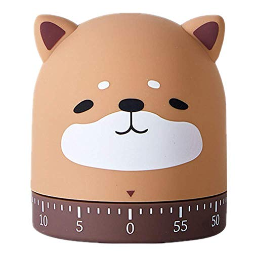 NATUREACT Kitchen Timer Manual Craft Mechanical Wind Up 60 Minutes Timer 360 Degree Rotating Cat&Dog&Fox&Pig Time Timer for Cooking (Dog)