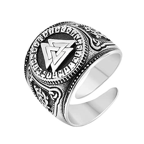 Anelli vichinghi, anello ad anello vintage in acciaio inossidabile Valknut Runic Triquetra per uomo Anello aperto vichingo nodo gotico Comfort Fit