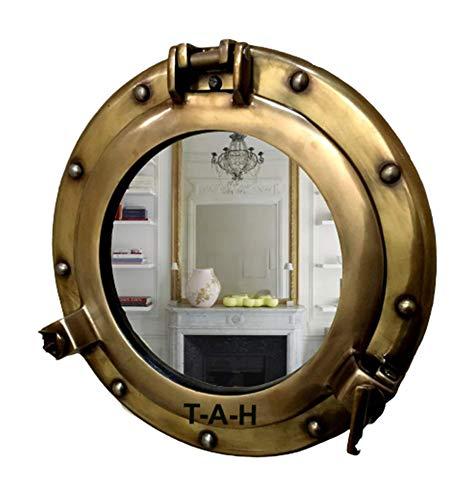 Espejo de ojo de buey de latón envejecido de aluminio de 38