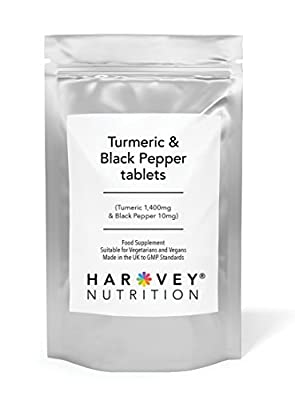 Turmeric & Black Pepper Tablets, 1400mg High Strength 95% Curcumin, 120 Vegetarian Tablets, Inflammation, Joints, Digestion, UK Made, Harvey Nutrition