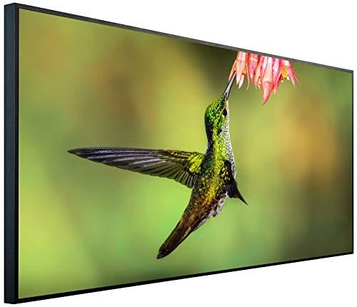 Ecowelle Infrarotheizung mit Bild | 750 Watt | 60x120 cm | Infrarot Heizung| | Made in Germany| b 90 Vogel mit Blume