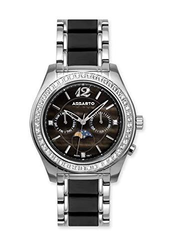 ASSARTO® Watches ASD-4970W-DRK Damenuhr Night-Edition mit echter Mondphase, Perlmutt und Topase