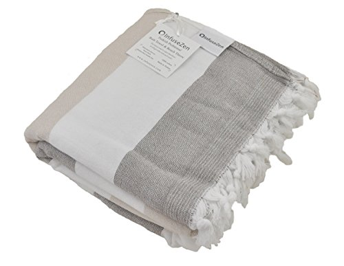 InfuseZen Large Turkish Towel with Soft Terryback, Striped Peshtemal Terry Back Turkish Bath Towel, Gym and Beach Towel, Thin Oversized Hammam Towel, Plus Size Fouta, Big Bath Sheet (Brown and Beige)