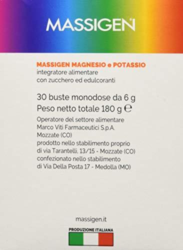 Massigen Magnesio E Potassio Integratore Multivitamine Gusto Arancia Rossa, 30 Bustine Da 6 Grammi