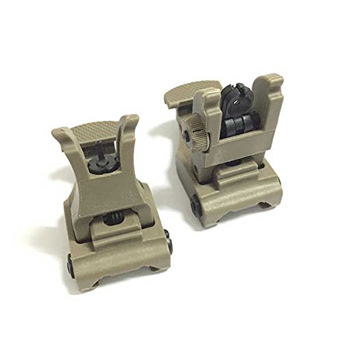 H World EU Tactical Front & Rear Flip-up Back-up Sight Set for 20mm RIS/RAS Rail Picatinny DE