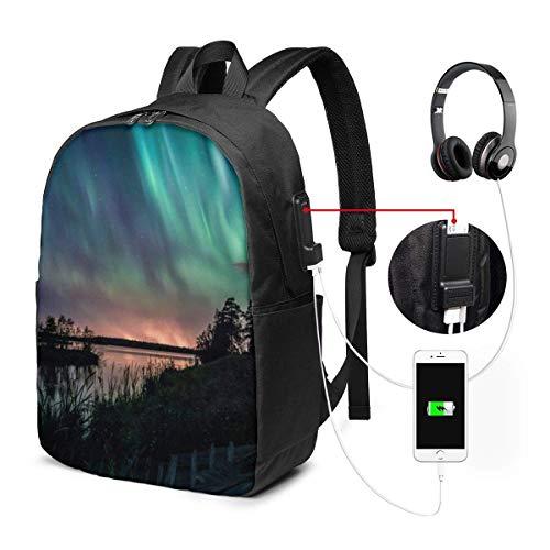 17in Laptop Rucksack mit USB-Ladeanschluss Schultasche, Intensive Aurora Computer Busin Rucksäcke für Schulbüro Daypack