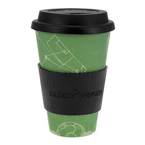 ebos Glücksbringer Coffee-to-Go-Becher aus Bambus | Kaffe-Becher, Trink-Becher | wiederverwendbar, natürliche Materialien, umweltfreundlich, lebensmittelecht, spülmaschinengeeignet (Teamplayer)