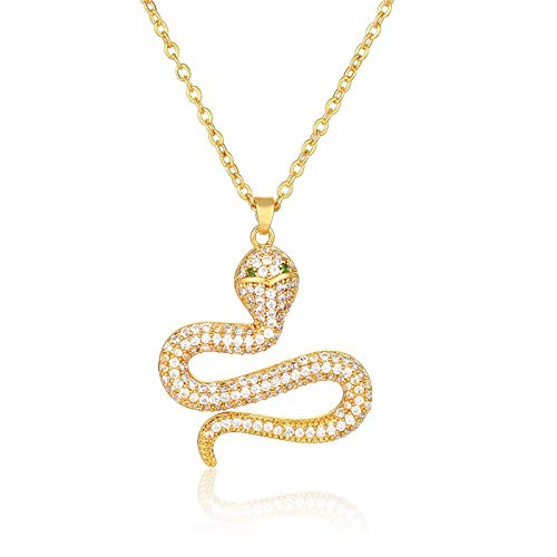 European and American Snake Pendant Jewelry with Real Gold Plating and Zircon Jewelry Necklace
