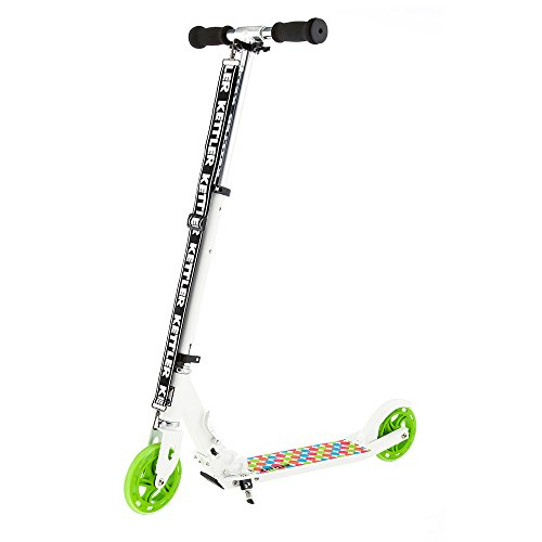 Kettler Scooter Zero 6 Spotted – klappbarer Cityroller mit Kick-Fußbremse und gepunktetem Design – höhenverstellbarer Kinderroller aus Aluminium – auch für Erwachsene – weiß, schwarz & grün