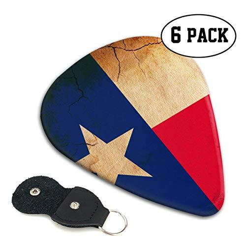 Texas Vlag Retro Crack 351 Vorm Klassieke Celluloid Gitaar Picks voor uw elektrische, akoestische, Mandoline, Bas en Ukulele Gitaar .71mm 6-Pack