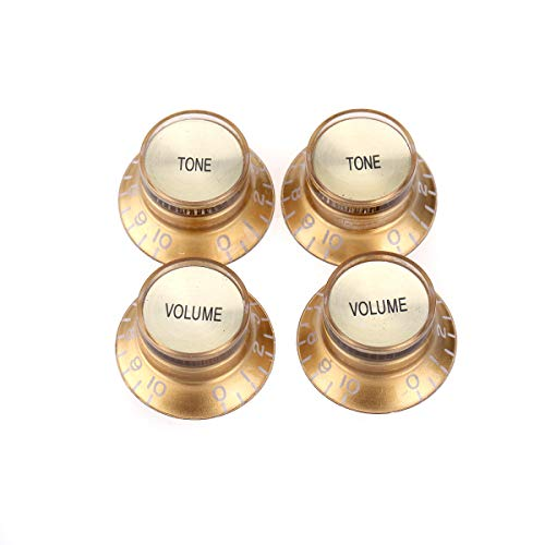 Musiclily Pro Metric Size 18 Spline Top Hat Bell Reflector 2 Volume 2 Tone Knobs Set for Epiphone Les Paul SG Electric Guitar Asia Import Guitar Bass Split Shaft Pots, Gold with Gold Top