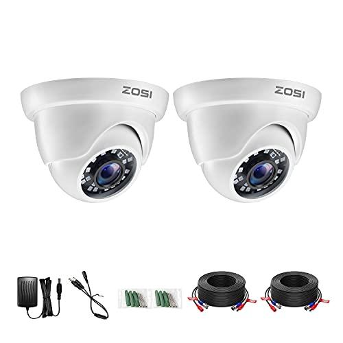 ZOSI 2MP Cámara de Vigilancia Exterior para DVR Kit de Cámara de Seguridad, 20m Visión Nocturna, 2 Pack Blanco