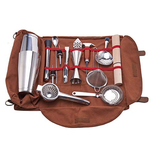 JFF Travel Bartender Kit Bag Professional 15-Piece Bar Tool Set with Stylish Portable Bar Bag and Shoulder Strap for Easy Carry and Storage Best Travel Bar Set