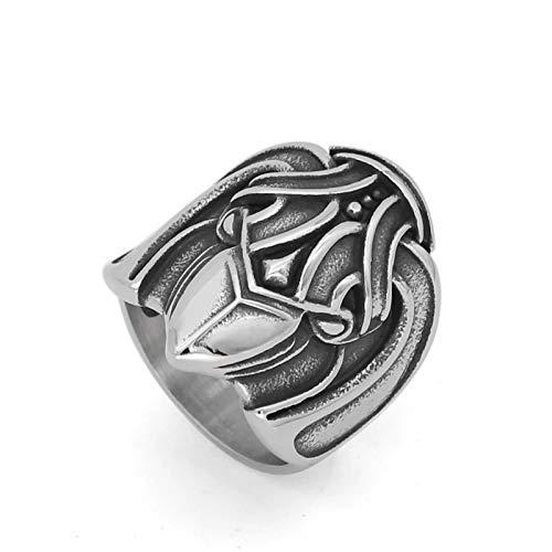 ZiFei Anillos, Hombres 316L Acero Inoxidable Nórdico Vikingo Amuleto Wiccan Cuervo Joyería Pagana,12